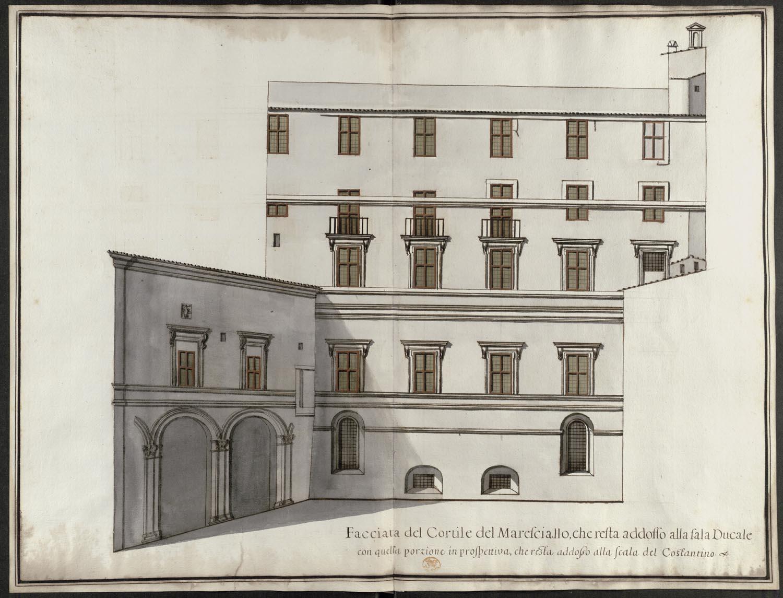 facciata del cortile del maresciallo che resta addosso alla sala