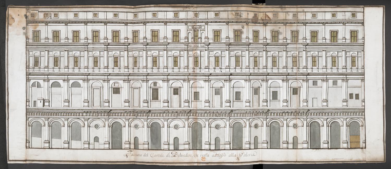 facciata del cortile di belvedere che resta addosso alla galeria